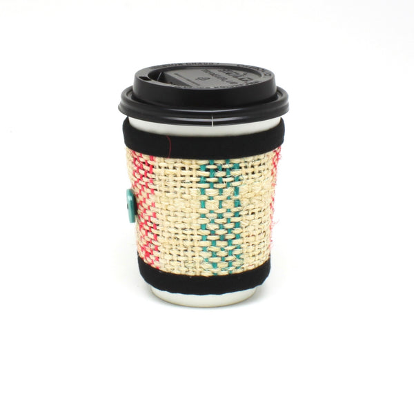 Coffee Cozy for travel or disposable cups with sea foam button and lines on small cup side