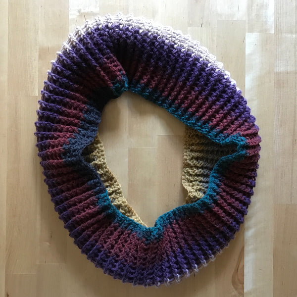 Multicolored Infinity Scarf Cowl Crochet on Table Bottom