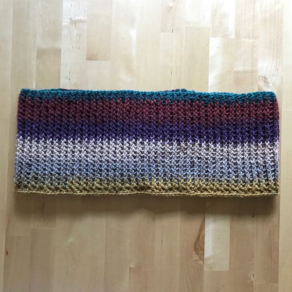 Multicolored Infinity Scarf Cowl Crochet on Table Flat other Side