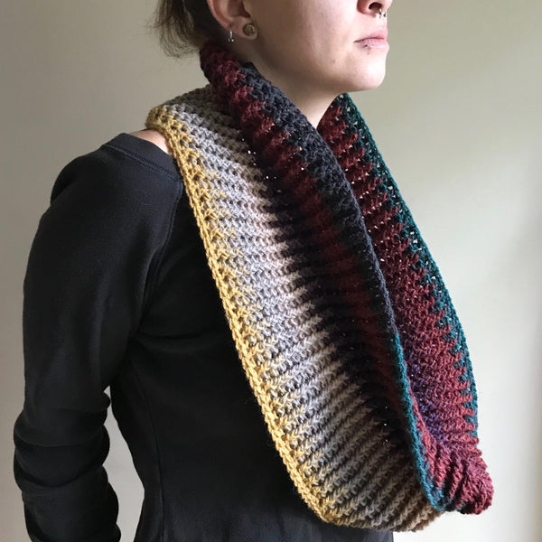 Multicolored Infinity Scarf Cowl Crochet unwrapped on model side