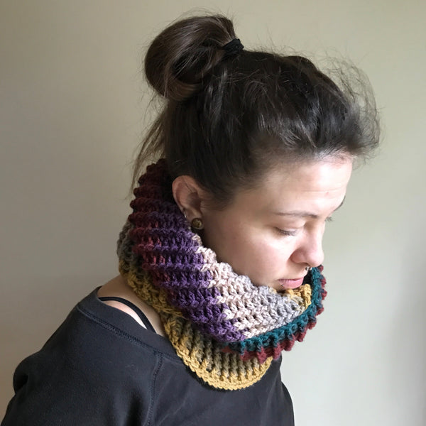 Multicolored Infinity Scarf Cowl Crochet on Model