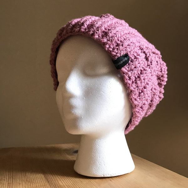 Mauve Cable Slouchy Beanie Hat flat on head left front