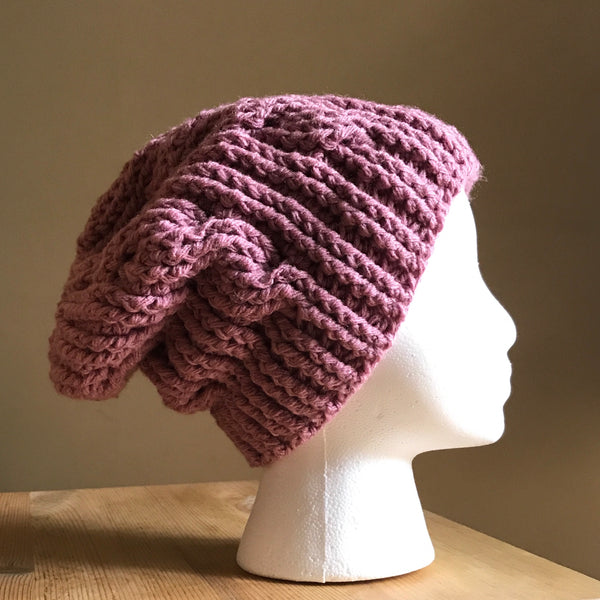 Mauve Cable Slouchy Beanie Hat flat on head right