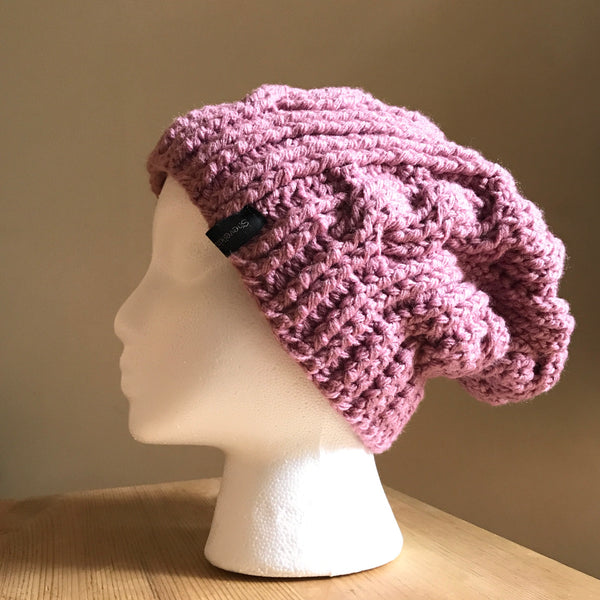 Mauve Cable Slouchy Beanie Hat flat on head left