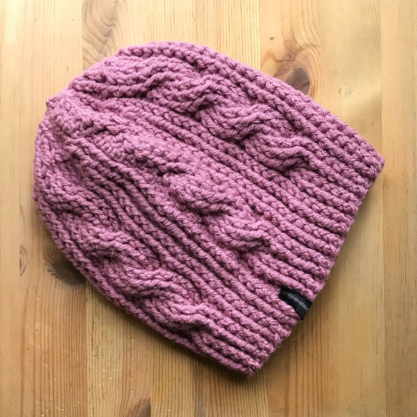 Mauve Cable Slouchy Beanie Hat flat on table side two