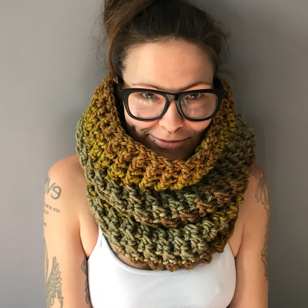 Mossy Earth Tone Cowl Infinity Scarf on front
