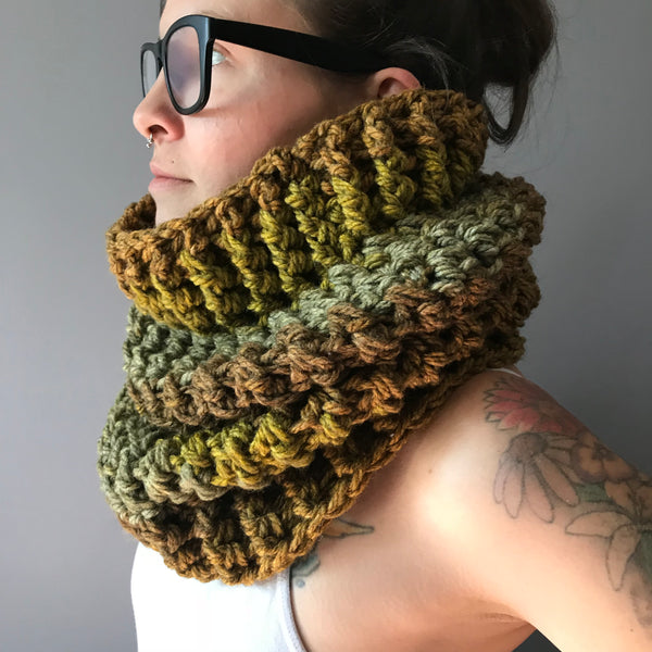 Mossy Earth Tone Cowl Infinity Scarf on left