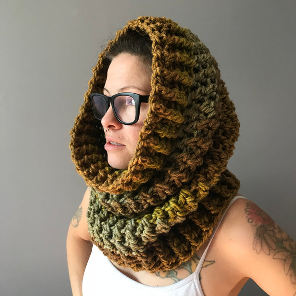 Mossy Earth Tone Cowl Infinity Scarf on left hood