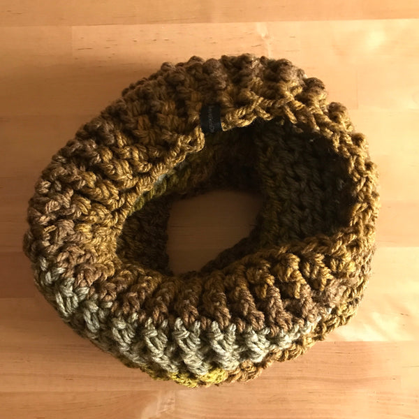 Mossy Earth Tone Cowl Infinity Scarf on table circle