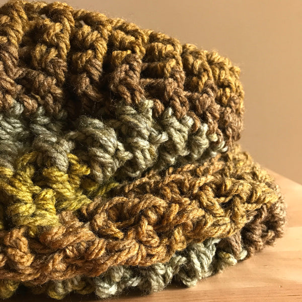 Mossy Earth Tone Cowl Infinity Scarf on table circle detail