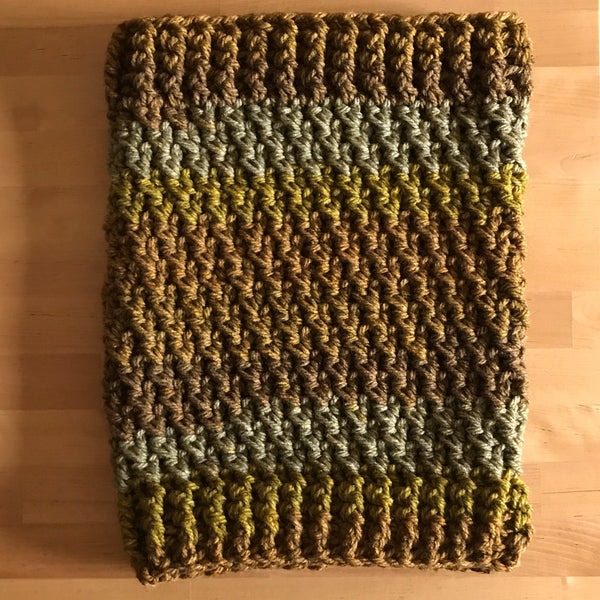 Mossy Earth Tone Cowl Infinity Scarf on table side one
