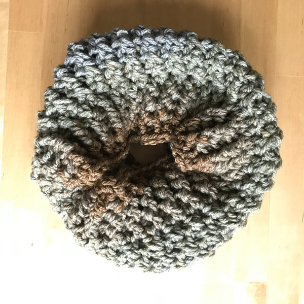 Earth Tone Wool Infinity Scarf on table circle side one