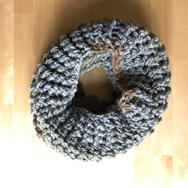 Earth Tone Wool Infinity Scarf on table circle side two