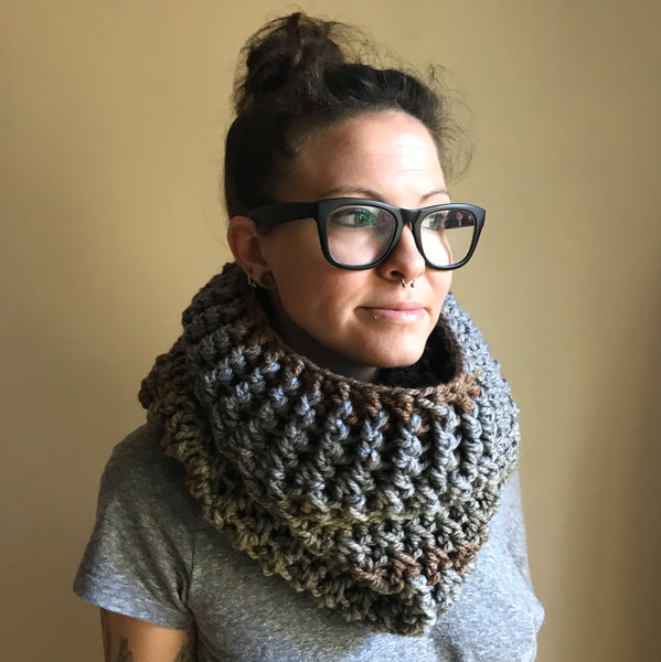 Earth Tone Wool Infinity Scarf on person front right