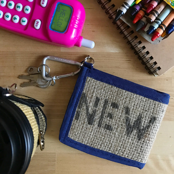New York Burlap Blue Orange BiFold Wallet on Table