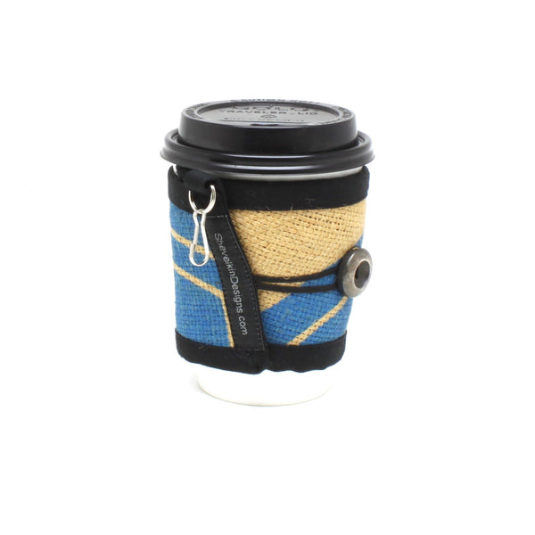 Reusable Coffee Cup Sleeve With Blue Swiss Water Process Logo Print and Silver Button Handmade out of Green Bean Coffee Sacks on a 12oz To Go Cup