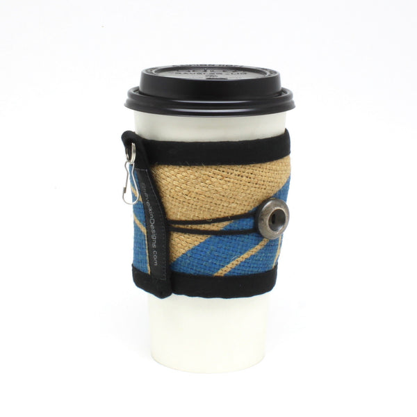 Reusable Coffee Cup Sleeve With Blue Swiss Water Process Logo Print and Silver Button Handmade out of Green Bean Coffee Sacks on a 20oz To Go Cup