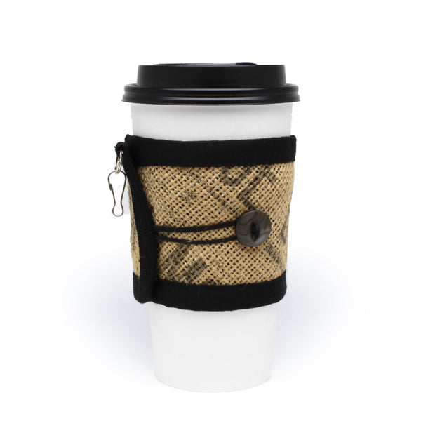 To Go Cozy Black Text with Black Pearlescent Button on Large Cup