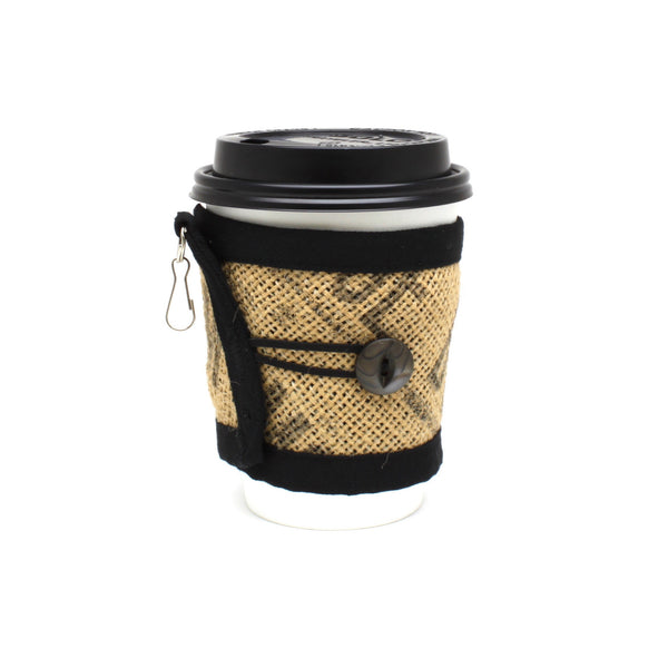 To Go Cozy Black Text with Black Pearlescent Button on Small Cup