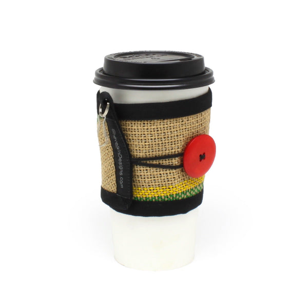 To Go Cozy Green and Yellow Lines with Large Glossy Red Button on Large Cup
