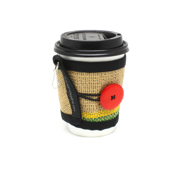 To Go Cozy Green and Yellow Lines with Large Glossy Red Button on Small Cup