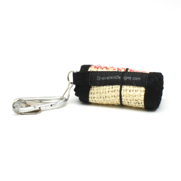 Coffee Cozy for travel or disposable cups with sea foam button and lines rolled up