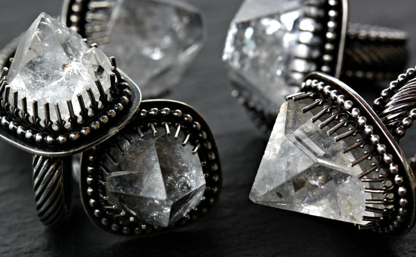 Apophyllite Crystal Points and Sterling Silver Rings.