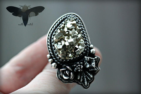 Golden Pyrite Flora + Fauna ring. size 8.5