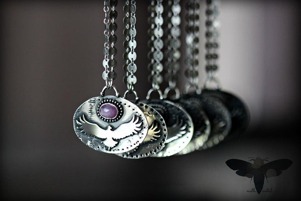 Raven necklace with rosecut and tavernier sapphires. EXPANSION series.