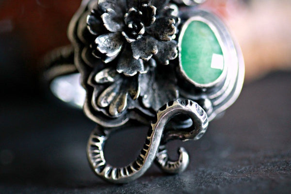 Emerald Serpent Seer Ring sz.8