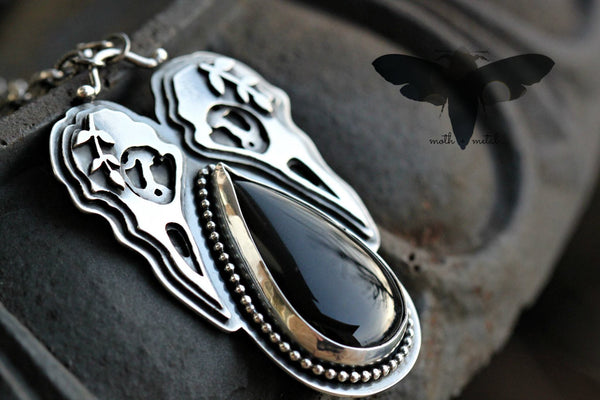 Huginn Muninn Raven onyx necklace sterling silver