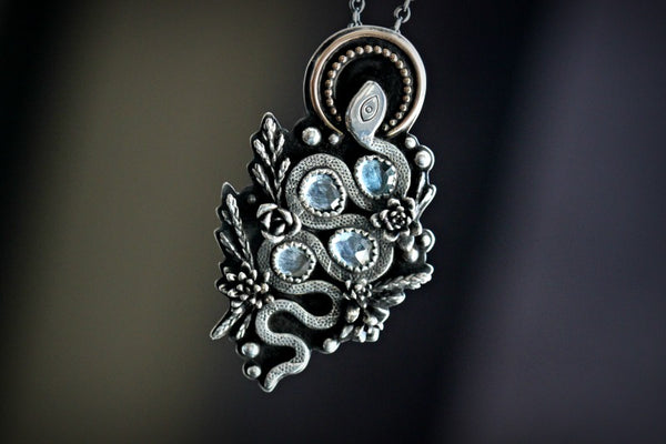 London blue topaz Snake necklace.