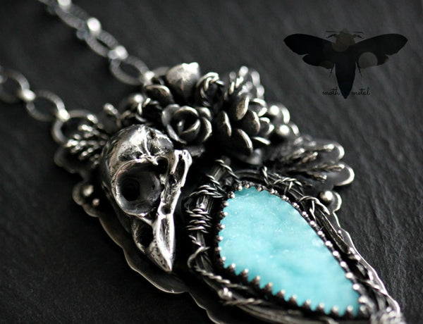 *RESERVED LISTING* Hemimorphite sparrow skull nest necklace