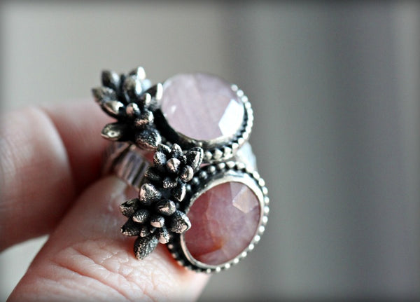 Rose cut Pink Sapphire Succulent ring. Size 5.5-6