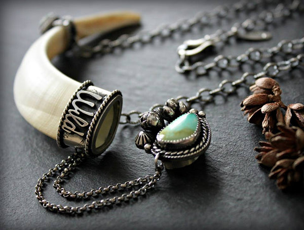 Wild Boar Tusk, Royston Turquoise and hand cast succulent necklace with cap.