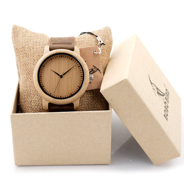 Classic Bamboo Wood Watch & Leather Strap
