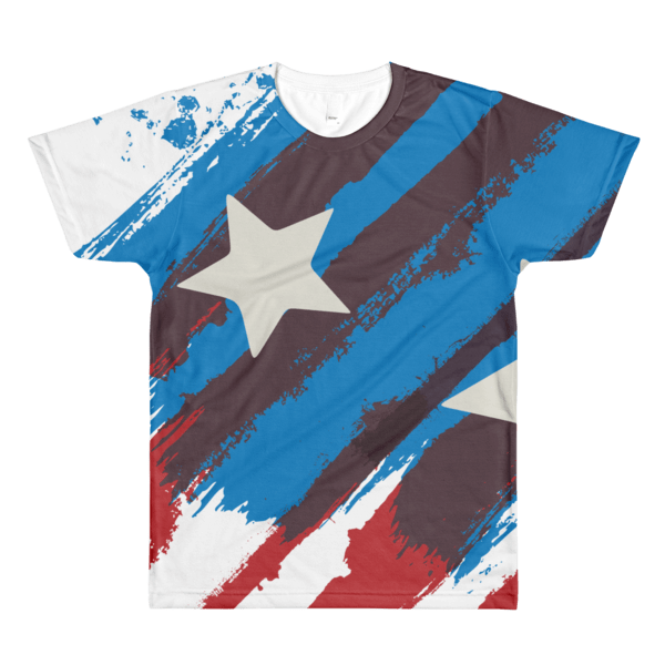 USA Flag Dye-Sublimation Men's Crewneck T-Shirt