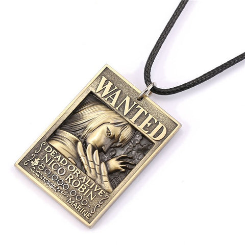 One Piece Robin Wanted Poster Necklace