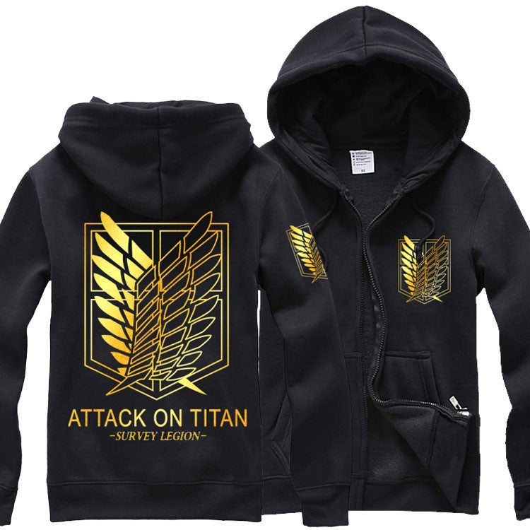 Attack On Titan Survey Corps Gold Zip Up Hoodie