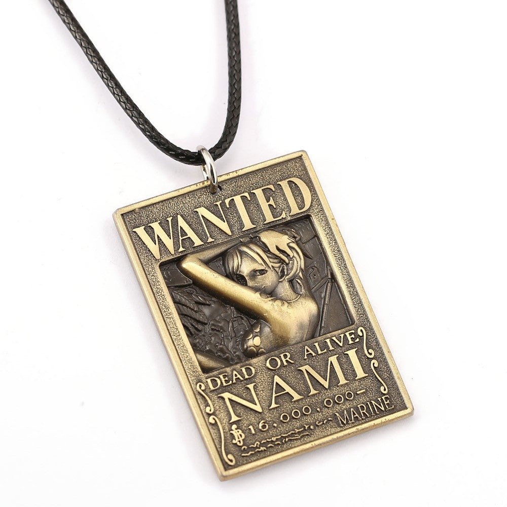 One Piece Nami Wanted Poster Necklace