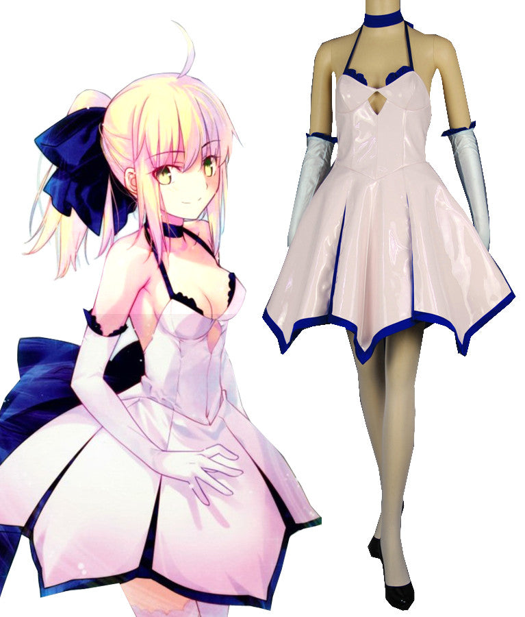 Fate Stay Night Saber White Dress Cosplay Costume
