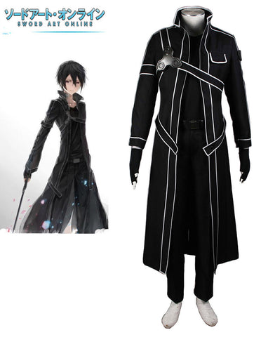 Sword Art Online Black Swordsman Kirito Cosplay Costume