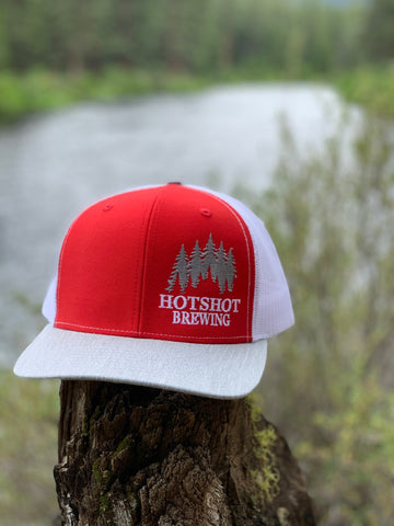 HOTSHOT BREWING CORPORATE HAT -RED WITH WHITE SNAP BACK