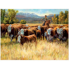 Autumn Roundup - Cowboy;  Framed Limited Edition Print by Laurie J Lee - F505095082