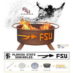 Florida State Seminoles Steel Fire Patina College Fire Pit