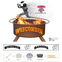 Wisconsin Badgers Steel Fire Patina College Fire Pit