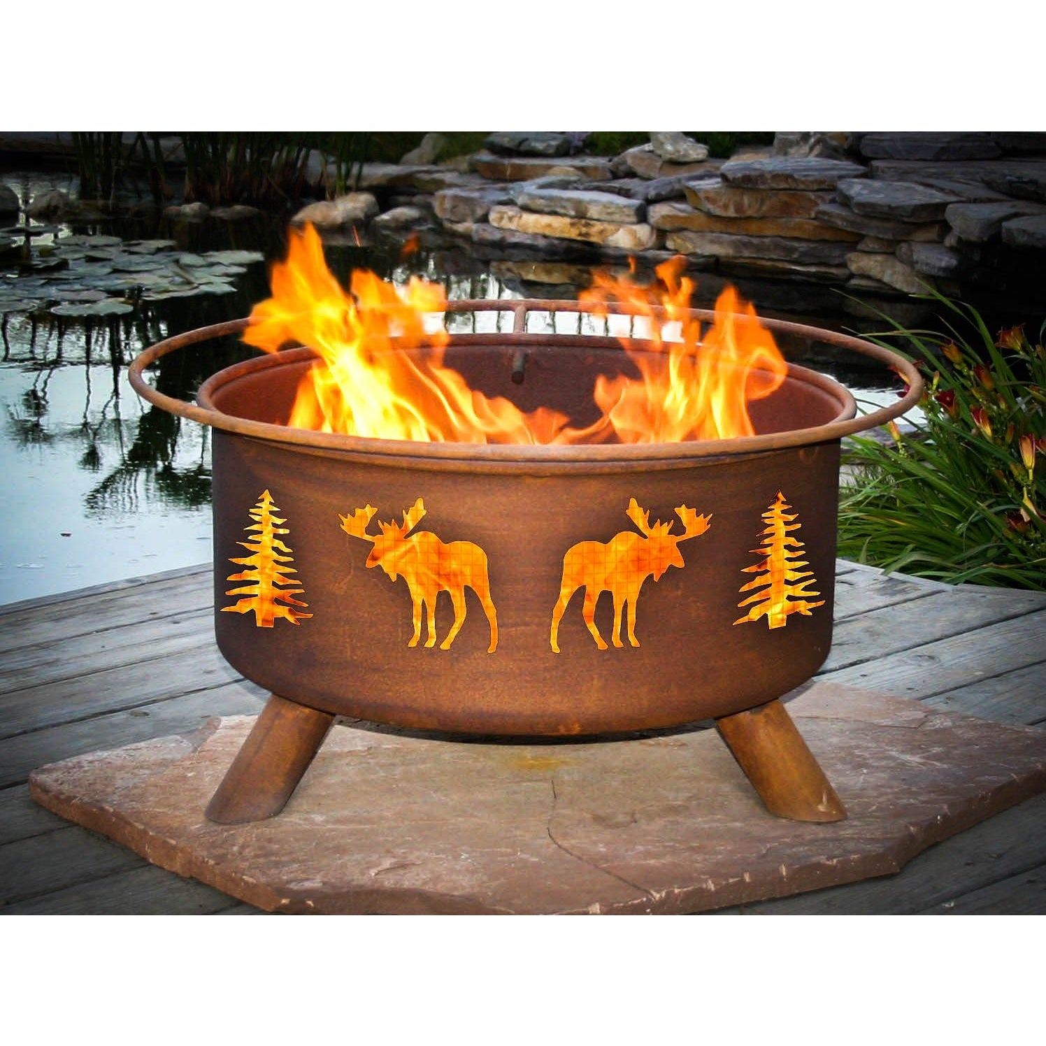 fire pit moose trees patio and backyard fire pit f108 cowboy