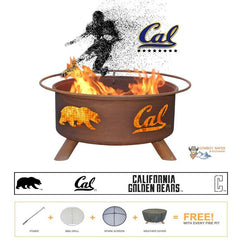 Cal Berkeley Golden Bears Steel Fire Patina College Fire Pit
