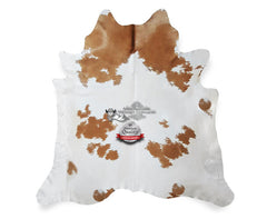 Beige and White Cowhide Rug - Origin: Brazil