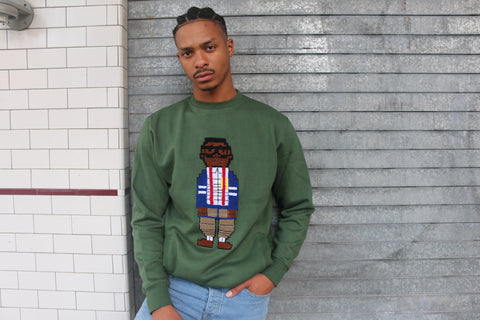Digital Nerd Chenille Crew Neck (Army Green)